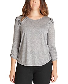 Juniors' Ruffle-Trimmed Ruched-Sleeve Top