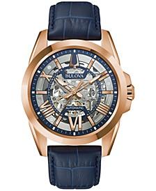 Men's Automatic Classic Sutton Blue Leather Strap Watch 46mm