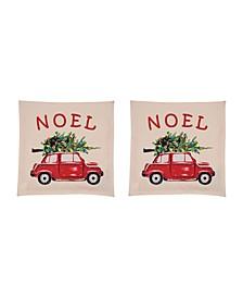 Noel Car Pillow Cover, Set of 2