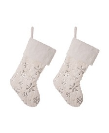 Plush with Snowflake Christmas Stocking, Set of 2