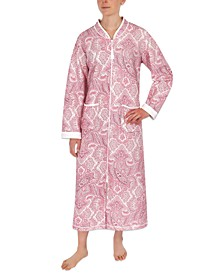 Plus Size Paisley-Print Long Zipper Robe