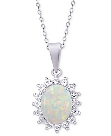 "Opal (1-1/2 ct. t.w.) & White Topaz (1 ct. t.w.) Oval 18"" Pendant Necklace in Sterling Silver"