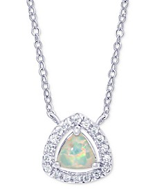 "Simulated Opal & Cubic Zirconia Trillion Halo 18"" Pendant Necklace in Sterling Silver"