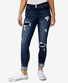 Juniors' Two-Button Cuffed Destructed Skinny Jeans