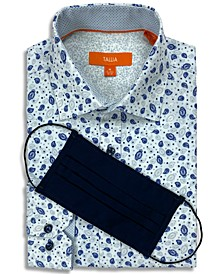 Receive a FREE Face Mask with purchase of the Tallia Men's Slim-Fit Performance Stretch Paisley Print Dress Shirt