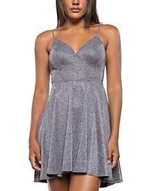 Juniors' Glitter V-Neck A-Line Dress