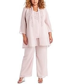 Plus Size Embellished Blouse, Jacket & Pants