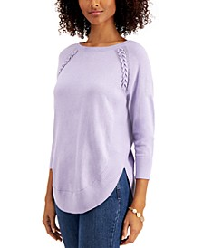 Braided Lace-Up Tunic Sweater, Created for Macy's