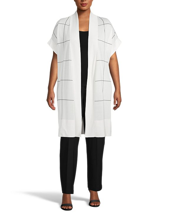 Anne Klein Plus Size Windowpane Cape Cardigan Sweater