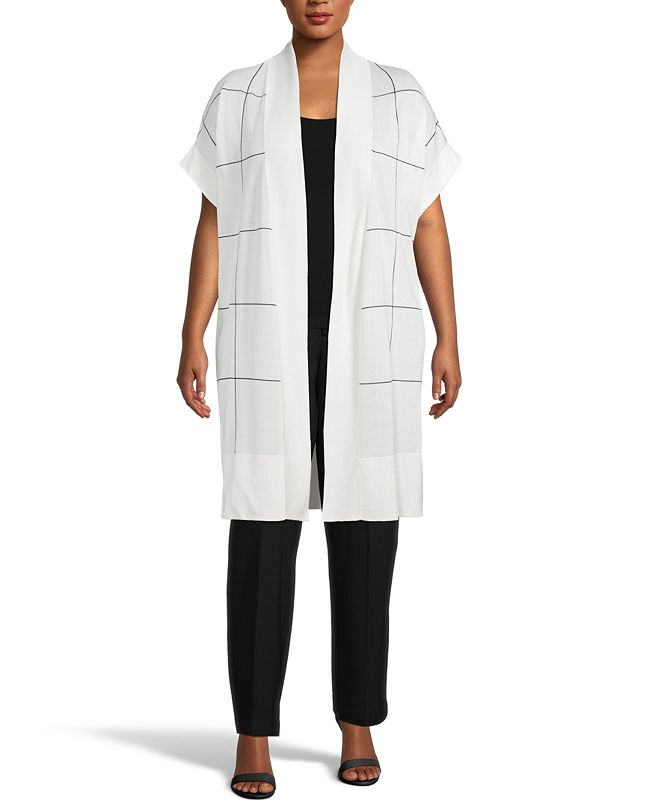 Anne Klein Plus Size Windowpane Cape Cardigan Sweater