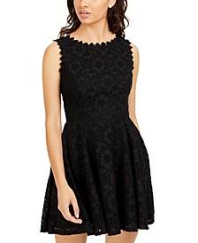 Juniors' Scalloped-Trim Lace Dress