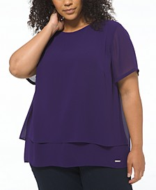 Plus Size Layered-Look Split-Back Top