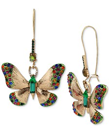 Gold-Tone Multicolor Crystal Butterfly Drop Earrings