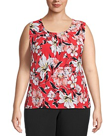 Plus Printed Pleat-Neck Top