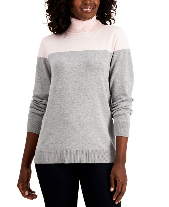 Karen Scott Colorblock Turtleneck Sweater, Created for Macy's