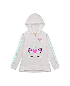 Big Girl Brushed Fleece Hoodie with Flip Sequin Kangaroo Pocket