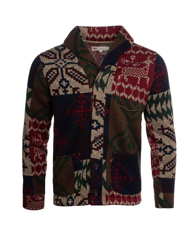 Levi's Men's Printed Sweater Knit Fleece Cardigan
