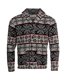 Men's Printed Sweater Knit Fleece Cardigan