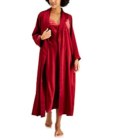 INC Velvet-Appliqué Satin Wrap Robe, Created for Macy's