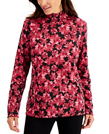 Plus Size Poinsettia-Print Top, Created for Macy's