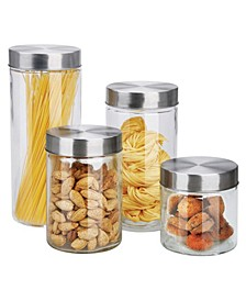 Glass 4-Pc. Canister Set with Stainless Steel Lids