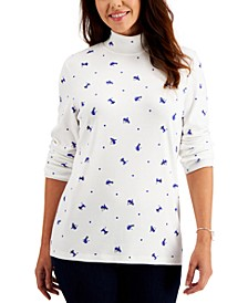 Petite Cat-Print Mock-Neck Top, Created for Macy's