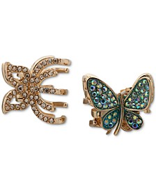 2-Pc. Gold-Tone Crystal Butterfly Hair Claw Set