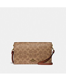 Hayden Foldover Crossbody Clutch In Colorblock Signature Canvas