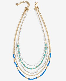 """Two-Tone Multi-Bead Convertible Layered Necklace, 13-1/2"""" + 3"""" extender"""