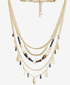 "Two-Tone Paddle Charm & Bead Layered Necklace, 14"" + 2"" extender"