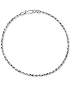 Rope Link Ankle Bracelet in Sterling Silver, Created for Macy's