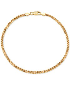 Wheat Link Ankle Bracelet in 18k Gold-Plated Sterling Silver, Created for Macy's