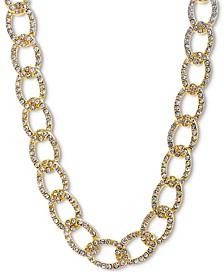 "Gold-Tone Pavé Curb Link 18"" Collar Necklace"