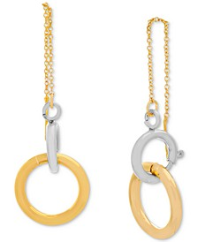 Two-Tone Ring & Chain Threader Earrings