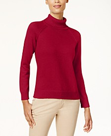 Petite Cotton Turtleneck Sweater, Created for Macy's