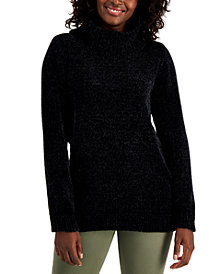 Karen Scott Solid Chenille Cowlneck Sweater, Created for Macy's