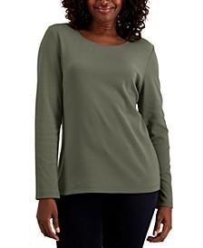 Cotton Long-Sleeve T-Shirt, Regular & Petite, Created for Macy's