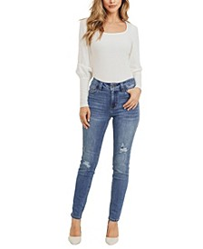 Women's Mid-Rise Destructed Skinny Jeans