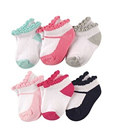 Baby Boys and Girls Mary Jane Socks Set, Pack of 6