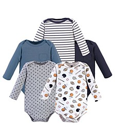 Boys and Girls Basic Sports Long-Sleeve Bodysuits, Pack of 5