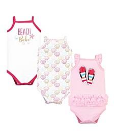 Baby Girls Flip Flops Bodysuits, Pack of 3