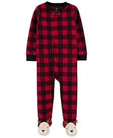 Toddler Boys and Girls 1-Pc. Buffalo-Check Reindeer Fleece Footie Pajamas