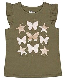 Toddler Girls Short Sleeve Butterfly Graphic Mix and Match Tee