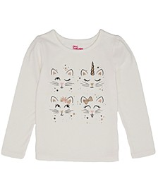 Toddler Girls Long Sleeve Kitty Graphic Mix and Match Tee