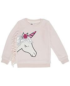 Little Girls Unicorn Graphic Minky Sweatshirt