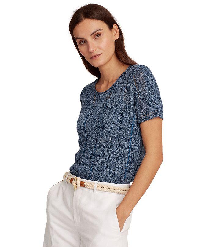 Lauren Ralph Lauren Camisole Lined Cable Knit Sweater