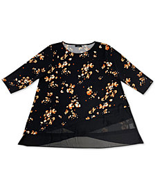 Alfani Plus Size Printed Crossover-Hem Top, Created for Macy's
