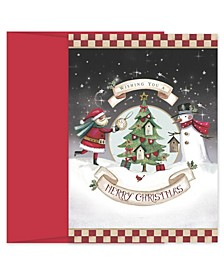 Santa and Snowman Decorating Holiday Boxed Cards, 18 Cards and 18 Envelopes