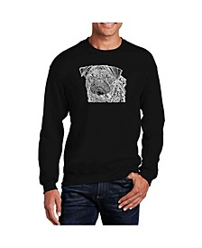 Men's Word Art Pug Face Crewneck Sweatshirt