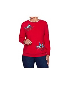 Women's Misses Bluebird Embroidered Top